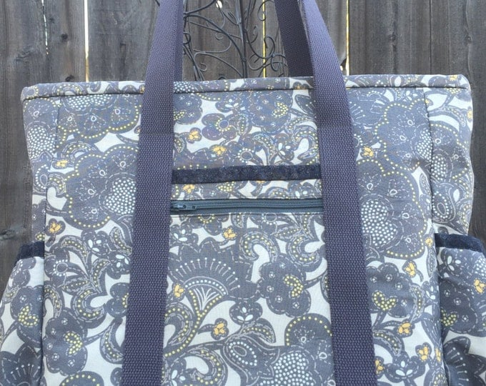 Tote Bag with Pockets, Teacher Tote, Nurse Bag, Tote Bag with Zipper, Diaper Bag, Work Tote, Professional Tote, Grey and Yellow Teacher Bag