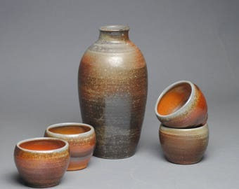 Sake Whiskey Set Wood Fired with Four Cups G39