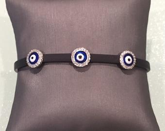 Leather Evil Eye Bracelet- Round