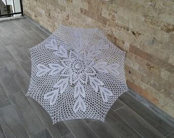Parasols Wedding umbrella crochet umbrella  Wedding victorian umbrella bridal umbrella romantic wedding White lace crochet