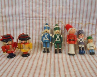 Collection Of Wooden Vintage Toy Soldier Ornaments