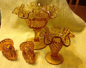 Vintage Set Of Amber Compote, Vase & Two Turkey Candle Holders