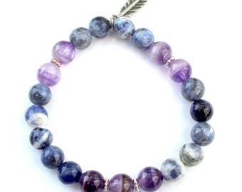 "Sodalite and Amethyst Bracelet Blue and Purple 6.75"" Stretch Bracelet Strong Vibration Gem, Healing, Protection Stretch Bracelet"