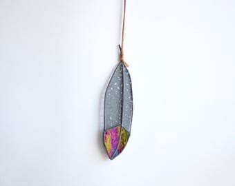 "IRIDESCENT - 6"" Stained Glass Feather - small - iridescent black and grey glass with leather for hanging"