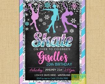 Ice Skating invitation, Ice skating birthday invitation, Skate Invitation, Skate Birthday invitation, Ice Skate party invitation, Skating in