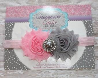 Pink and Gray Baby Headband, Infant headband, Newborn Headband, Toddler Headband, Light Pink and Gray Headband, Pink and Silver