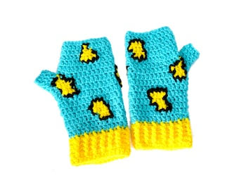 Turquoise, Yellow & Black Leopard Print Fingerless Gloves. Cyan Blue Animal Print Texting Mittens. Womens Vegan Crochet Fingerless Gloves