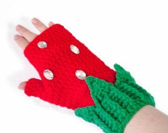 Strawberry Fingerless Gloves. Cute Red & Emerald Green Womens Texting Gloves. Crochet Hand Warmers. Kawaii Girls Gloves. Cute Gift for Her