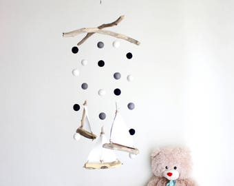 Driftwood Sailboat Mobile with Felt Balls -- Felt Poms with Ships / White, Grey and Black -- Nautical Gender Neutral Decor -- Ready To Ship
