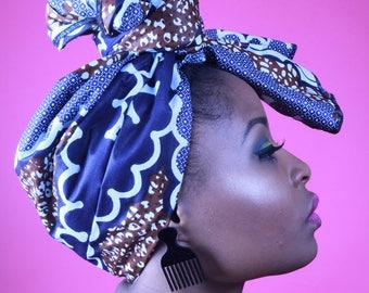 Navy Blue & Brown - Headwrap