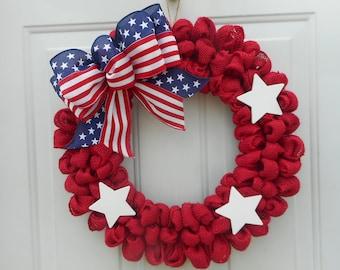 Patriotic burlap wreath Burlap Patriotic wreath Red burlap Patriotic wreath Patriotic decor Memorial day wreath July 4th wreath RTS