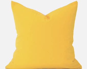 Yellow Pillow Covers ANY SIZE Pillow Cover Yellow Pillow Premier Prints Canvas Solid Corn Yellow