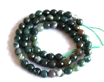 Full Strand of Faceted Moss Agate Gwewmstone Beads
