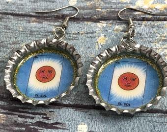 Loteria Earrings, El Sol Earrings, Bottle Cap Earrings, Sun Earrings, Mexican Jewelry, Playing Cards, Mexican Bingo, Loteria Jewelry