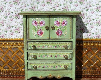 Vintage cupboard. Design Handmade.  For doll House. 1:12 Scale