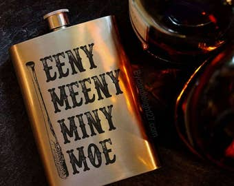 Eeny Meeny Miny Moe, Negan, I Am Negan, Property of Negan, The Walking Dead, Negan Gift, Walking Dead Gift, Negan Flask, TWD, 8oz Hip Flask