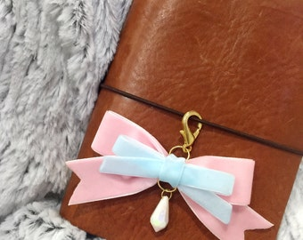 Pink and baby blue velvet bow charm