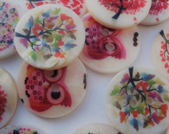 20mm Flat Round 2-Hole Freshwater Shell Buttons, Printing and Sewing Buttons Pack of 14 AS02