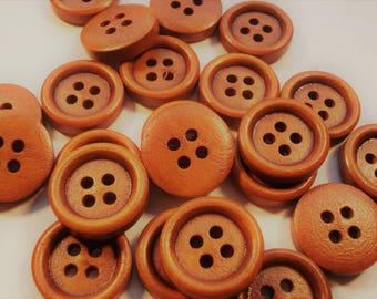 15mm Plain Wood Buttons Pack of 15 Coffee Brown Buttons W1503