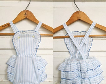 Vintage pale blue striped baby sun suit / romper- ruffled bottom/ baby sun suit size 9M