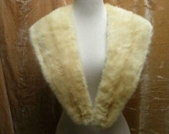 VTG 1950s white mink fur collar large