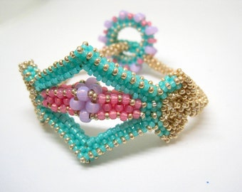 One of a Kind 3D beaded bracelet, cubic right angle weave, right angle weave, rope bracelet, gold bracelet, mint jewelry, gold jewelry