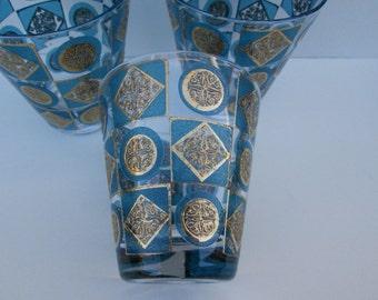 Vintage Glassware Retro - Mad Men - 3 Rocks Cocktail 9 oz. Blue & Gold - Culver or Briard