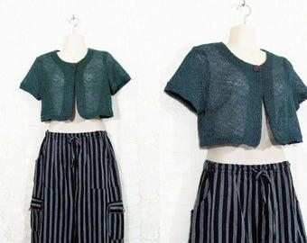 Vtg 90s Pine Green Cropped Open Crochet Belero Sweater