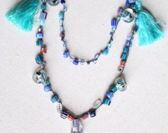 Beaded Tassle Necklace, Crochet Beaded Necklace, Boho Jewelry, Blue Jewelry, Blue Necklace, Glass Bead Jewelry, Blue Tassel, Lampwork Beads
