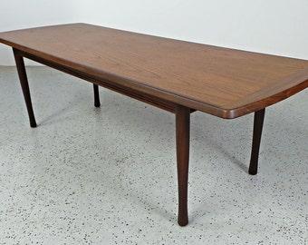 SALE mid century Danish modern walnut bordered long low coffee table