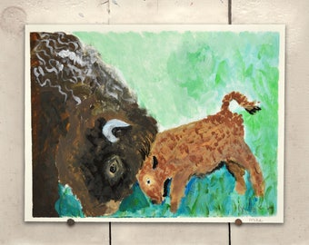 """Bison Original Art 11.5x9"""" One of a Kind 100% of the profits go directly to artists with disabilities Item 96 Mike H."""