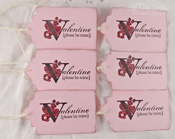 Valentine's Day Gift Tags, Valentine Tags, Love Tags, Be Mine Tags, Shabby Chic Tags, Party Favor Tags - Set of 6