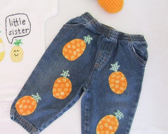 Pineapple Baby Jeans - Embellished patched jeans - baby clothes - 6-9 mths