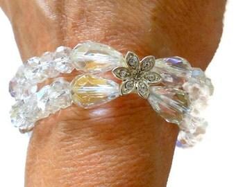 AB Crystal Rhinestone Stretch Bracelet Silver Tone Rhinestone Flowers Bridal Wedding
