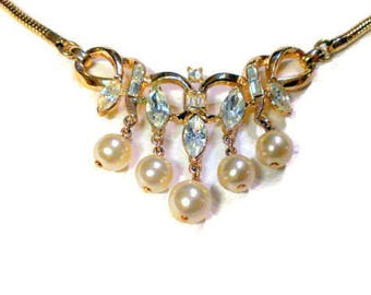 Trifari Crystal and Pearl Necklace and Earring Demi Parure Set