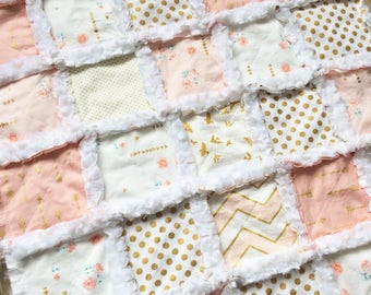 Blush pink, white and metallic gold minky baby girl rag quilt with arrows polka dots birds and florals