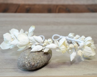 Bridal Seashell Flower crown Beach Wedding Headpiece  Seashells Mermaid Headand Nautical  Destination Wedding Headband floral rustic tiara