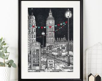 Personalised Big Ben Print - London Illustration - London Art - London Print - Drawing of London