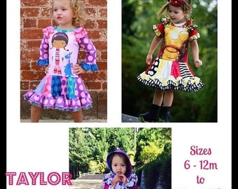 30% OFF Sale Taylor Twirl Dress - PDF Sewing Pattern Girls Upcycle Pattern Sizes 6-12m - big girl 12  Instant Download with Video Tutorials