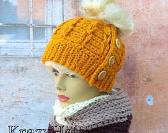 Messy bun hat.Crochet messay bun hat.