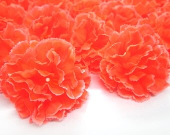 "2"" Hawaiian Carnation Heads (Pack of 24) - Neon Orange - Artificial Flower, Silk Flower Heads"