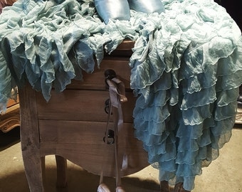 Ruffled Throw Drapey Soft Turquoise Green Chiffon Ruffles on Knit Background Romantic Shabby & Chic