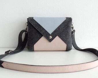 Dark Gray Pink Blue Wool Felt Genuine Leather Messenger Crossbody Bag