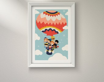 It's A Small World Children in a Balloon Clouds and Stars CUSTOMIZABLE sizes and colors - Digital Instant Download for Printing