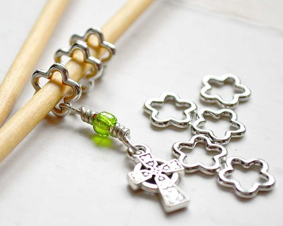 Celtic Cross / Knitting Stitch Markers / Snag Free Knitting Stitch Markers / Wire Charmed Stitch Markers