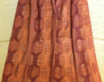 Mid Century Modern Curtains Geometric Mesh Brown Tones Like New Mad Men 50s  / 60s Decor