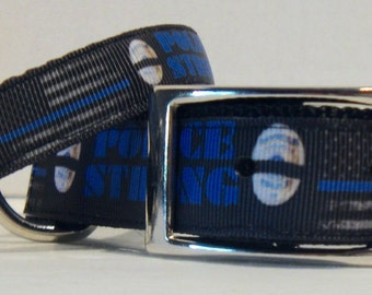 POLICE STRONG Ribbon Dog Collars, Back the Blue, Small Dog, Medium Dog and Large Dog Collars and Leashes