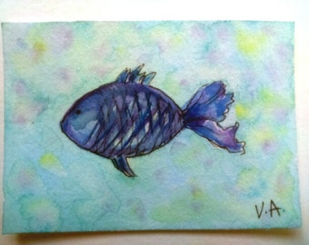 Aceo fish, ocean aceo, sea aceo, watercolor aceo, miniature painting, artist trading card, watercolor miniature, hand painted aceo