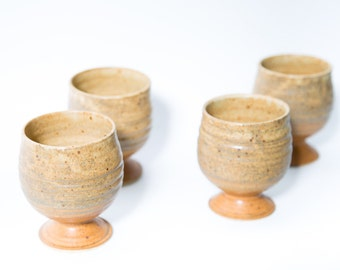Handmade Cups Set of 4 Earth Tone 1970s Pottery Mugs Stoneware