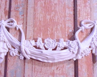 Shabby Chic FURNITURE APPLIQUES Large Rose & Bow Swag * Flexible * Paintable * No limit shipping 5.95 USA